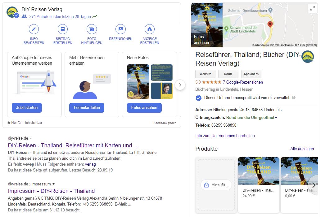 DIY-Reisen Verlag in der Google-Suche