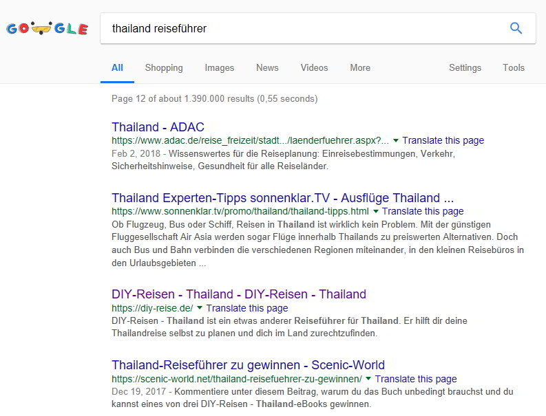Google-Suche Thailand Reiseführer