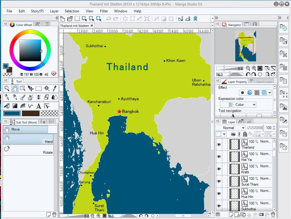 Thailandkarte im MangaStudio